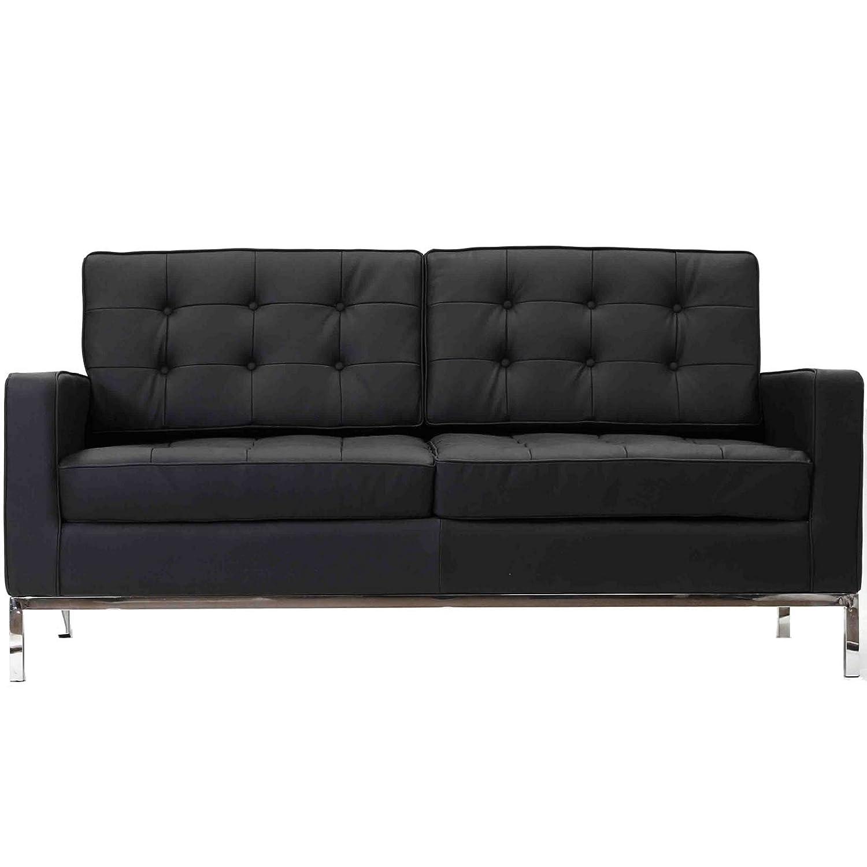 Upholstered Loft Loveseat in Genuine Leather (Black)