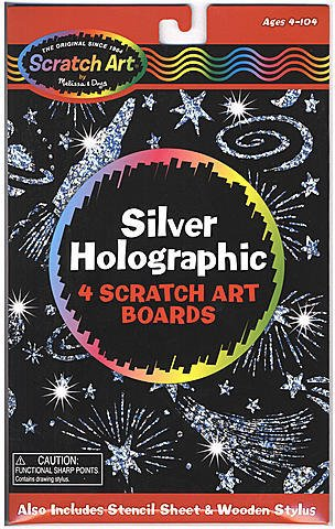 Scratch Art Board Sets (Silver Holographic) - 1