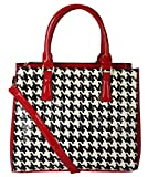 Rimen & Co.Womens Patent Houndstooth Executive Collection Faux Leather Satchel Handbag Fashion Handbag Purse QN-2853 (Red)