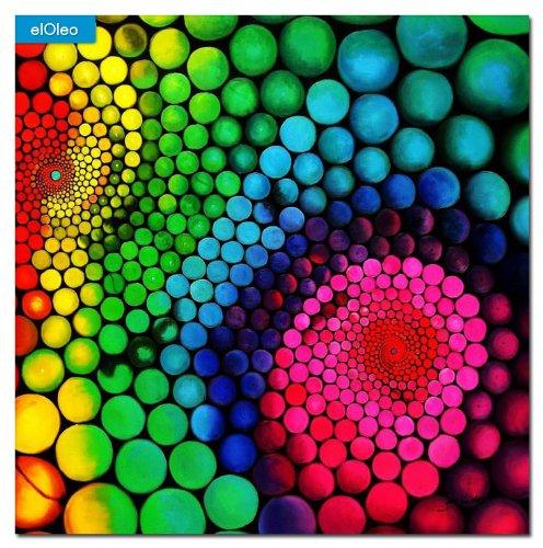 elOleo Abstrakt 60´s molekulare Geometrie 120×120 Gemälde auf Leinwand handgemalt 83568A günstig online kaufen