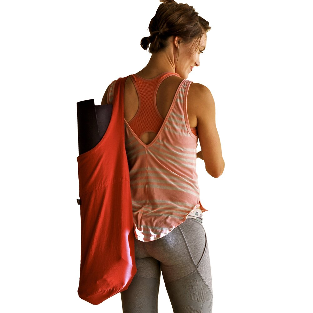 Best Yoga Mat Bag Tote for Women (Fashion Forward, Savvy Design, Bold Colors, Sturdy Eco-friendly Materials) – Cute Sling Carrier, Simple Top Loading Sport Bag Tote, Large Size for Extra Storage, Perfect for Modern Yoga Lovers – 100% Cotton Canvas Made in USA – Yoginiology – Fully Guaranteed
