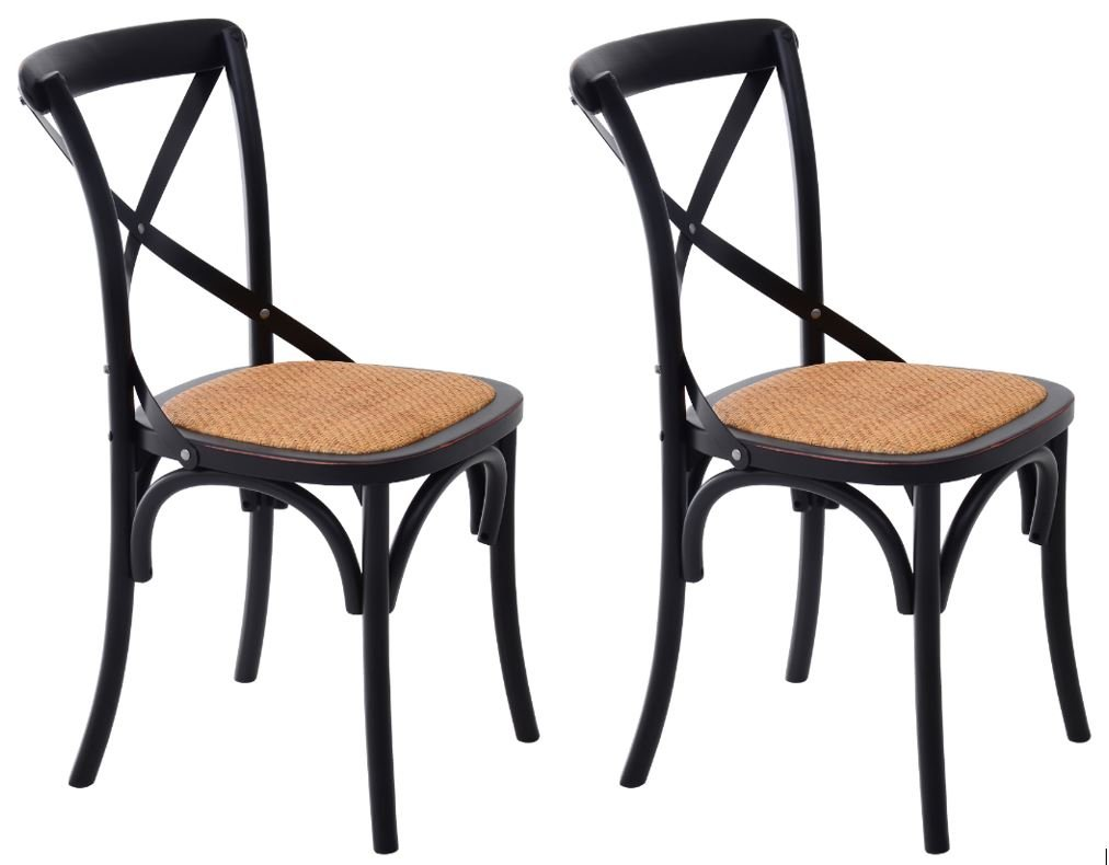 HomCom Vintage-Style X Back Elm Wood Dining Chair - Set of 2 (Black) 0