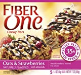 Fiber One Chewy Bars, Oats n Strawberry with Almonds, 5-Count Boxes (Pack of 12)