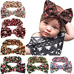 Little Mouse ® Assorted 6 Colors Baby Girl\'s Elastic Hair Hoops Headbands/ Newest Turban Headband Head Wrap Knotted Hair Band (6 pcs set 99)