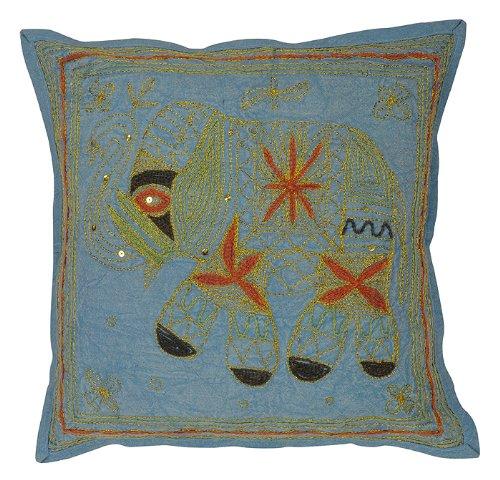 Imagen 2 de Cojín Elefante hecho a mano cubre con Zari y bordado Tamaño trabajar 16 x 16 pulgadas Juego de 2 piezas