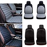 Maiqiken Car Seat Cover 12V Electric Pair Heated Seats pad Winter Automobiles Seat Cushion Heating Keep Warm Fit for Most Cars (2pcs Black) (Color: black)