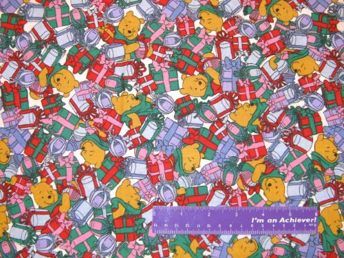 """43"""" Winnie The Pooh Christmas Gifts Cotton Fabric By The Half Yard front-11829"""