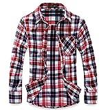 (ハイクルーズ) HIGH CRUISE ギンガム チェック 柄 ネルシャツ メンズ トップス ストリート 長袖 シンプル ファッション タイト カットソー カジュアル アウター ユニセックス Y シャツ (赤 白 L)