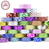 Buluri 50 Rolls Glitter Washi Tape Set, Decorative Craft Tape Collection for Christmas Gift, Scrapbooking, Arts, DIY Crafts, Gift Wrapping, Adhesive School Supplies