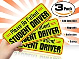 New Student Driver Magnet Car Signs for the Novice or Beginner. Better than A Decal or Bumper Sticker (Reusable) Reflective Magnetic Large Bold Visible Text ( Diamond Grade Safety Yellow 3-Pack)