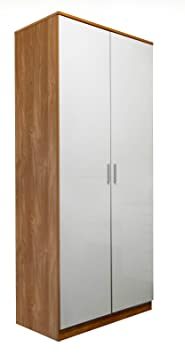 Set of 2x 2 Door Double Wardrobe in White High Gloss & Oak Frame