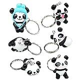 CRIZAN Cute Animal Keychain Key Ring Handbag Bag Charm Car Cell Phone Decor Ornament (6 Panda Set) (Color: 6 Panda Set, Tamaño: Free size)