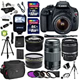 Canon EOS Rebel T5 Digital SLR Camera Body with EF-S 18-55mm IS + EF 75-300mm f 4-5.6 III + Polaroid Studio Series 58mm Wide Angle and 58mm Fixed Telephoto Lenses + 40 GB Storage + Polaroid Tripods + 3 Filters + Deluxe Bag + Extra Accessories
