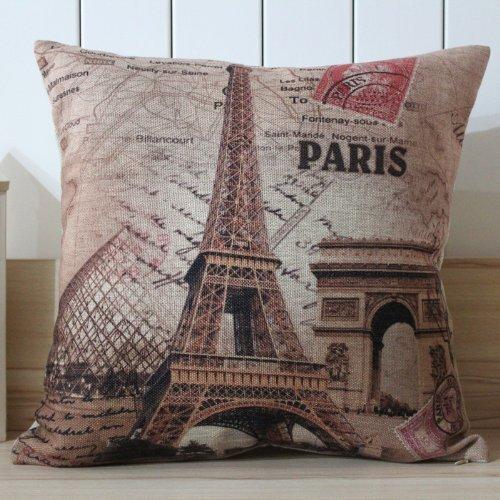 45X45Cm France Paris Eiffel Tower Linen Pillow Case Cushion Cover Louvre Museum Triumphal Arch front-331142