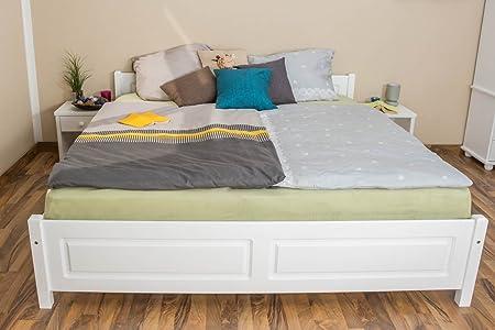 Doppelbett / Gästebett Kiefer massiv Vollholz weiß 77, inkl. Lattenrost - Abmessung 180 x 200 cm
