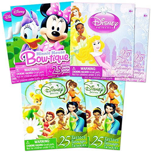 Disney-Tattoos-Party-Favor-Set-For-Girls-Over-150-Temporary-Tattoos-Featuring-Minnie-Mouse-Disney-Princess-and-Disney-Fairies-30-Temporary-Tattoo-Sheets