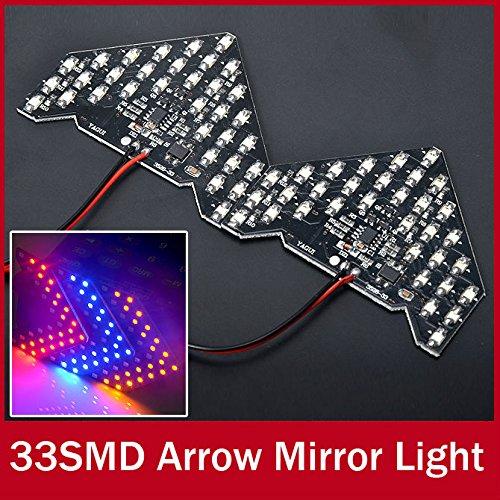 paxten (TM) 2 x Super rouge bleu ambre 33-smd séquentiel LED flèches pour voiture côté Miroir Tour Signal LED 12 V Flash Strobe Indicateur