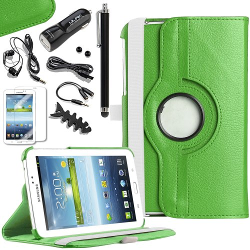 Pandamimi Ulak(Tm) 360 Degree Swivel Stand Rotating Pu Leather Case Cover For Samsung Galaxy Tab 3 7.0 P3200 Tablet With 9 Accessories - Screen Protector/Cleaning Cloth/Application/Headphone/Usb Cable/Car Charger/Touch Stylus/Earphone Splitter Cable (1 In