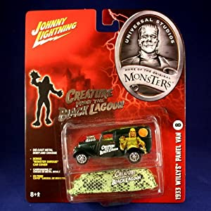 "1933 WILLYS PANEL VAN #8 * THE CREATURE FROM THE BLACK LAGOON * Johnny Lightning 2005 UNIVERSAL STUDIOS MONSTERS 1:64 Scale SERIES 2 Die Cast Vehicle & ""Monster Shroud"" Car Cover"
