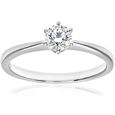 Naava 18ct 6 Claw Engagement Ring, E/VS2 EGL Certified Diamond, Round Brilliant, 0.33ct