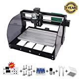 CNC 3018 Pro-M GRBL Control DIY CNC Machine, 3 Axis PCB Milling Machine, Wood Router Engraver with Offline Controller, with ER11 5mm Extension Rod and 20PCS 3.175MM CNC Router Bits (3018 PRO M) (Tamaño: A)
