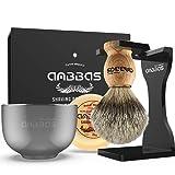 Shaving Set, Anbbas 4IN1 Pure Badger Hair Shaving Brush Solid Manchurian Ash Wood Handle,Black Broken-resistant Acrylic Shaving Stand,Stainless Steel Shaving Bowl Dia 3.2