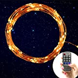 New upgrade Homestarry® Dimmable String Lights Pro 20Ft 120 LED's Warm White Copper Wire Warm White with Wireless Handheld Remote Control 12V Power Adapter Perfect application for Christmas Wedding and Party