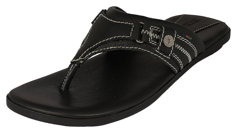 Men's Paxton Black Leather Hawaii Thong Sandals - 10 UK/India (44 EU)