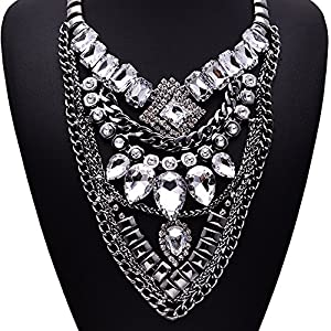 Rhinestone Crysta Fashion Jewelry Bling Choker Unique Pendant Silver Necklace For Womens