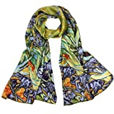 "100% Luxurious Charmeuse Silk Van Gogh's ""Irises"" Long Scarf Shawl"