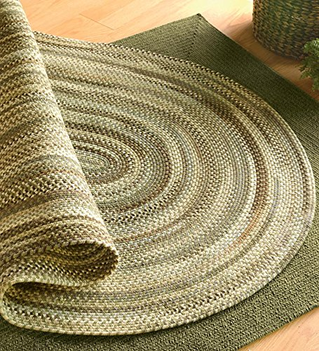 5' x 8' American-Made Oval Bear Creek Braided Wool And Nylon Blend Rug