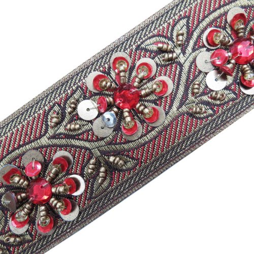 1 Yd Hand Bead Red Sequin Stone Trim Sewing Craft