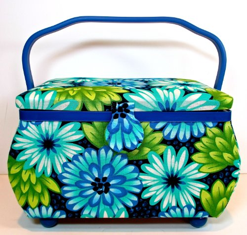St.Jane Sewing Basket,blue with Blue/green Flowers,plastic Compartment Shelf,handle,12.6