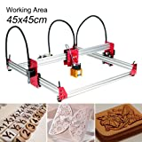 Upgrade Version 5500mw CNC Laser Engraving Machine, 45x45cm CNC Router Egraver Machine USB 12V Destop Wood Carving Engraving Machine