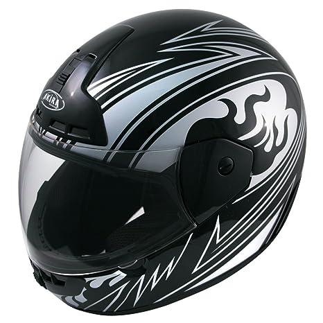 Akira 25052 Casque Moto Intégral Nagoya Décor, Noir/Argent/Décor, S