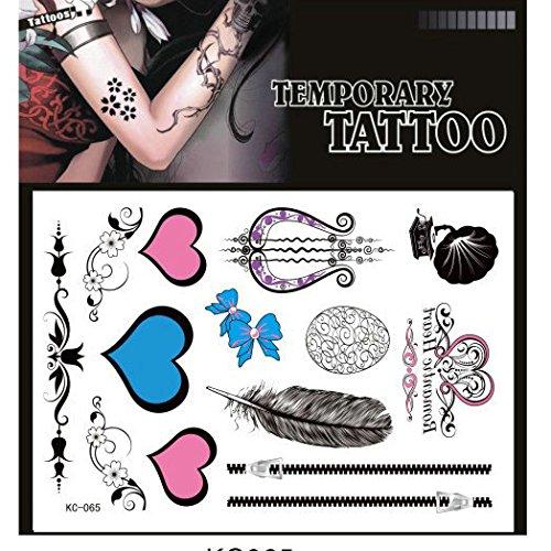 SYZ Beauty Waterproof Temporary Tattoos Heart Feather Zip Bow Harp Gramophone Tattoos