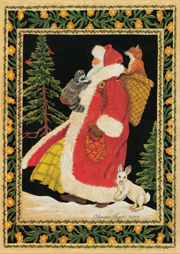 Santa and Animals Boxed Holiday Cards