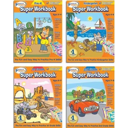 to 2nd Grade Super Workbook bundle (4 Pack) (Hooked On Phonics Super
