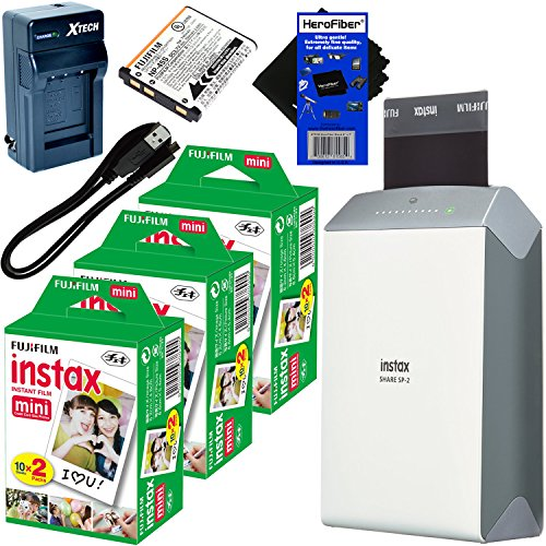 Fujifilm-instax-SHARE-Smartphone-Printer-SP-2-Silver-International-Version-Instax-Mini-Instant-Film-60-sheets-Rchrgbl-Battery-ACDC-Charger-HeroFiber-Gentle-Cleaning-Cloth