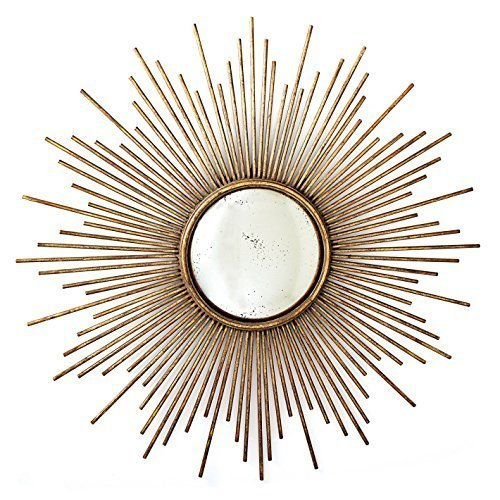 Large Sunburst Ornate Antiqued Gold Wall Mirror