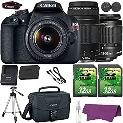 Canon EOS Rebel T5 DSLR Camera with Canon EF-S 18-55mm IS Lens + Canon EF 75-300mm III Lens + 2 Pieces 32GB SD Memory Card + Canon Bag + Cleaning Kit + Tripod