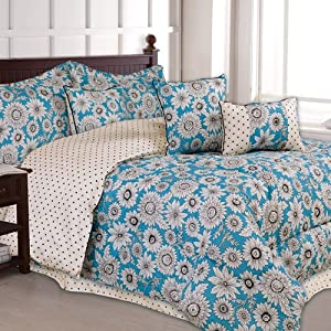 Turquoise Black White Flowered Full Size Girls Teen 7 Piece Comforter Set Pillows