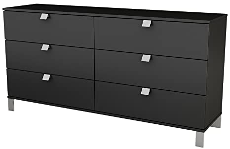 South Shore Spark Collection 6-Drawer Double Dresser, Pure Black