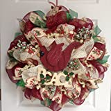 New Premium Red Cardinal Peace Holiday Wreath