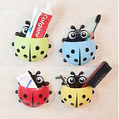 Bestga Cute Cartoon Ladybug Kids Wall Suction Cup Mount Toothbrush Holder Pencil and Pen Container Box Travel Organizer Plastic Pocket Storage Organizer - Green