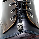 Fastlace Shoes No-tie Elastic Fast Laces with Skull Head Metal Lock