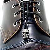 Fastlace No-tie Elastic Fast Shoelaces with Skull Head Metal Lock,color Black