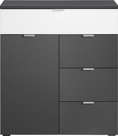 CS Schmalmöbel 35.093.146/12 Compleo Kommode Typ 12, 91 x 101 x 38.5 cm, graphit / weißglas
