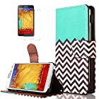 Note 3 Case, Galaxy Note 3 Case - ULAK Slim PU Leather Stand Flip Cover Wallet Case for Samsung Galaxy Note 3 Note III N9000 with Screen Protector (Aqua Blue)