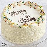 Gourmet Vanilla Bean Two Layer Happy Birthday Cake with Buttercream